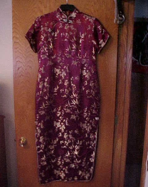 Ladies NWOT Medium Size Oriental Dress Burgundy Wine & Gold
