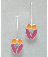 Orange Pink Enamel Silver Earrings Unique Drop ... - $70.00