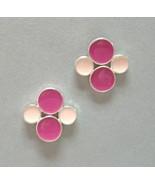 Pink Dot Enamel Earrings Sterling Silver Unique... - $63.00