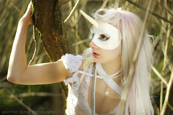 White Unicorn Leather Mask