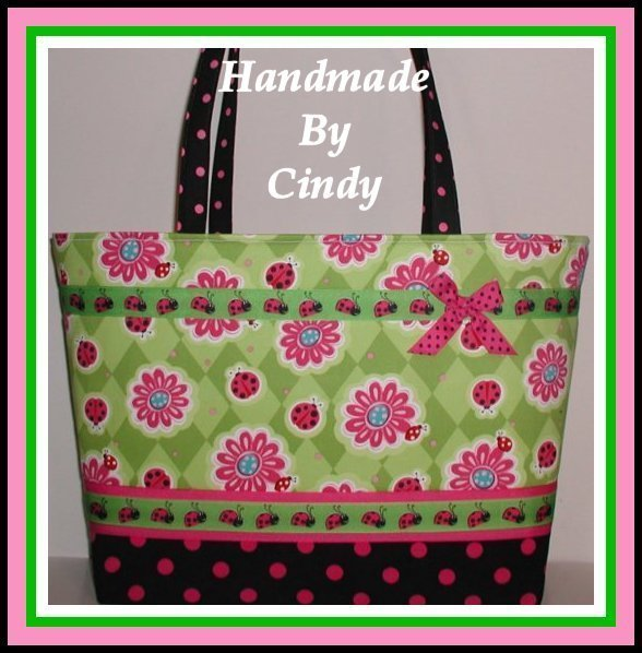 Ladybug Diaper Tote Bag Ladybugs Extra Large Hot Pink Polka