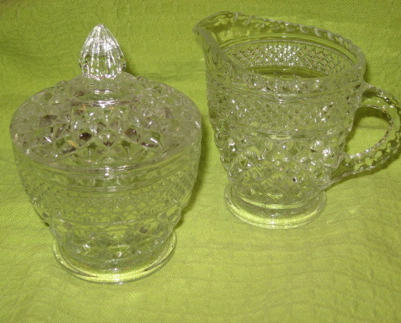 Indiana Glass Diamond Point Covered Sugar & Creamer-60's