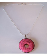 Necklace Sterling Silver Chain Pink Turquoise R... - $17.99