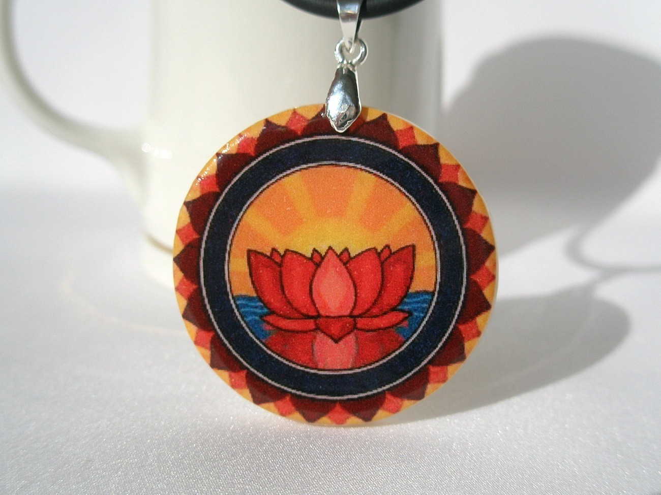 Red Lotus Buddhism Symbol Necklace