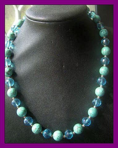 designer artiste  classical gemstone necklace with aqua crys