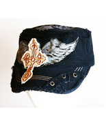 Black Distressed Painter Flat Top Hat with Wing... - $9.99