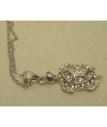 Turtle Necklace Pave Rhinestones 18KRGP Silver Chain - $6.00