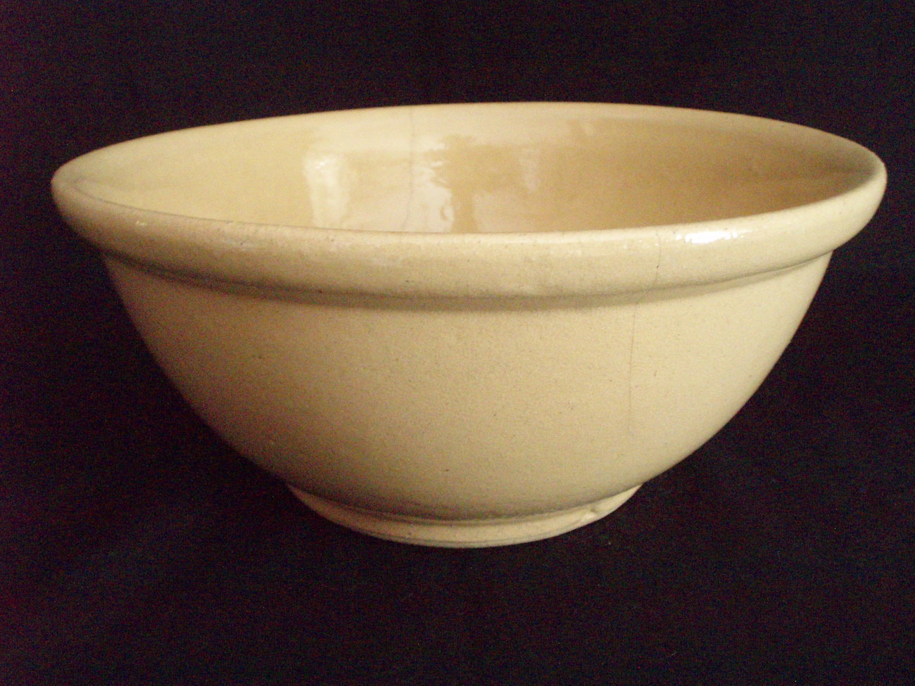 glazed yellow ware mixing bowl antique