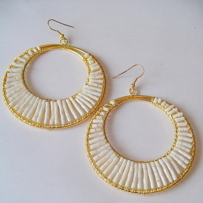 Large Beaded Gold Tone White Hoop Loop EARRINGS Pendant