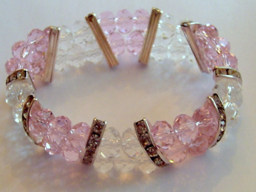 Pink Clear Stretch BRACELET Faceted Crystal Beads