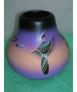 Native American Style Ceramic Pot - Shawl Dancers - Signed - NICE - $6.00