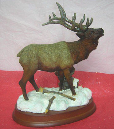 Elk Bull  on Wood Base   Nice Detail