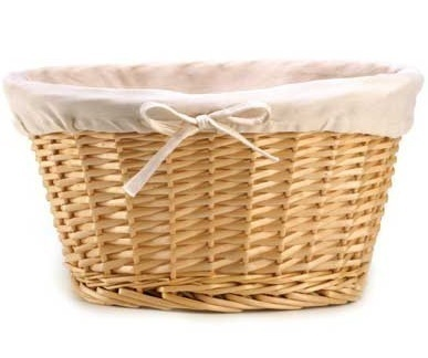 Wicker Clothes Basket Fruit Vegetable Magazine Rack Holder Storage Fabric Lined