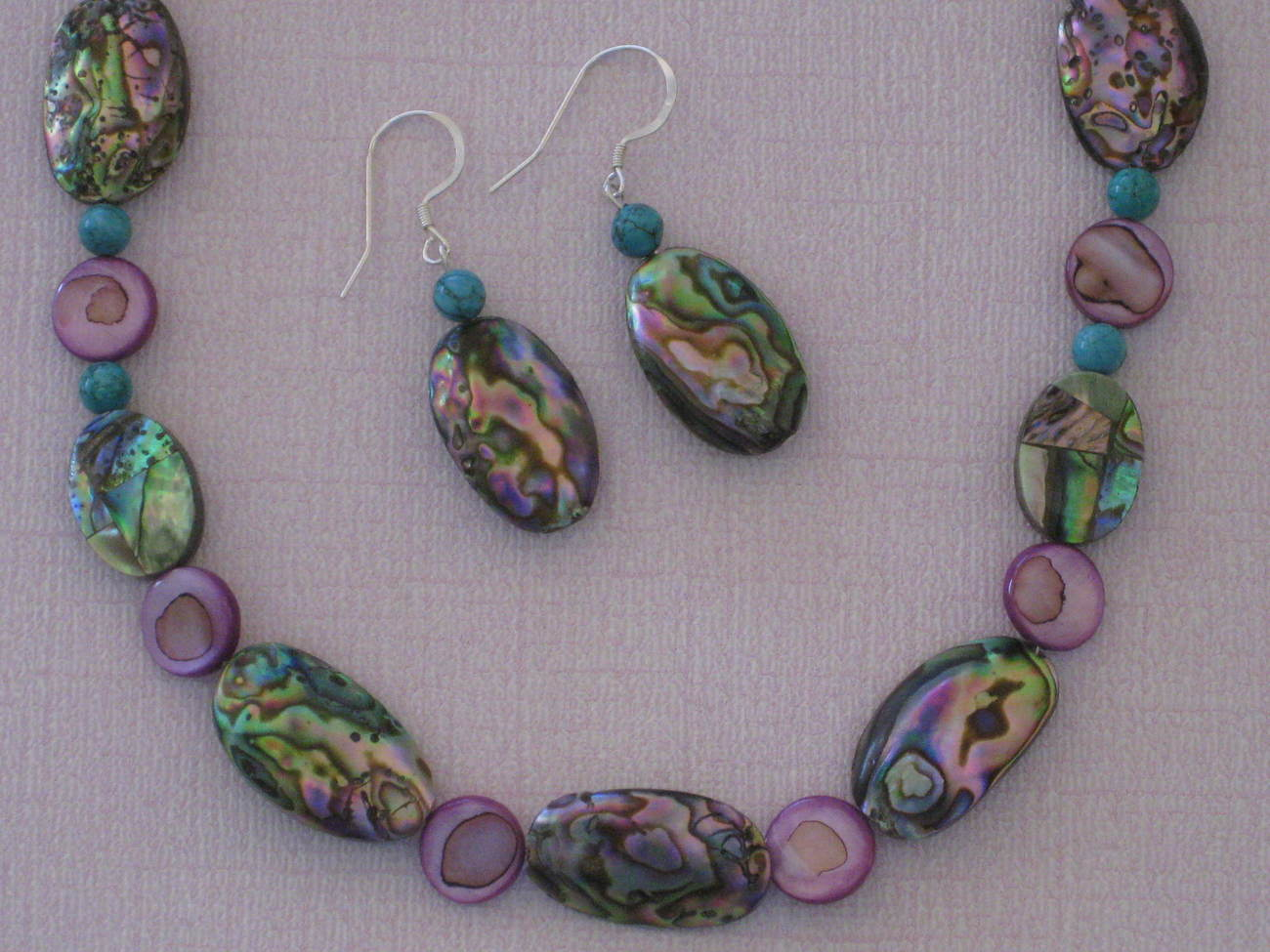 Abalone Shell Necklace Earrings Set Handmade