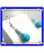 EARRINGS BLUE TURQUOISE TIBET SILVER PIERCED #362 - $9.99