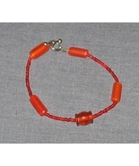 Orange Glass Bracelet with Toggle Clasp - 8 inch - $5.00