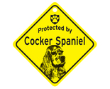 Buy Gifts and Collectibles - Cocker Spaniel Protected By Dog Sign and caution Gift