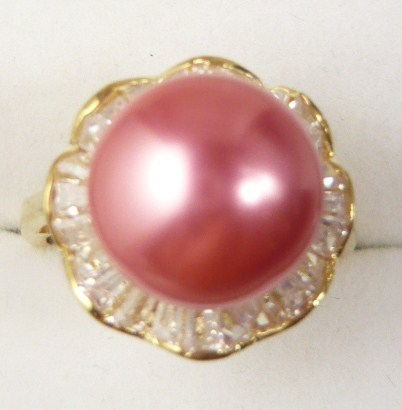 Fancy Lady's noblest pink shell pearl 18 KGP ring (#6-9 exit) free shipping