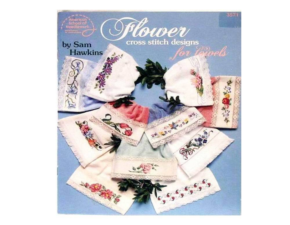 Flower Cross Stitch Designs For Towels Booklet 1991