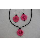 Wood Happy Face  Pendant  Pink  Earrings Handmade - $12.99