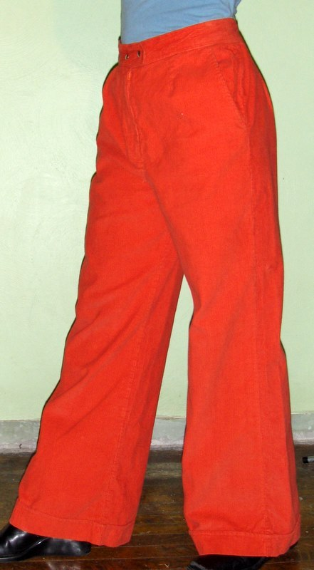 Cool Woman's 70's Vintage Orange Corduroy Giant Bellbottoms Disco Hippie