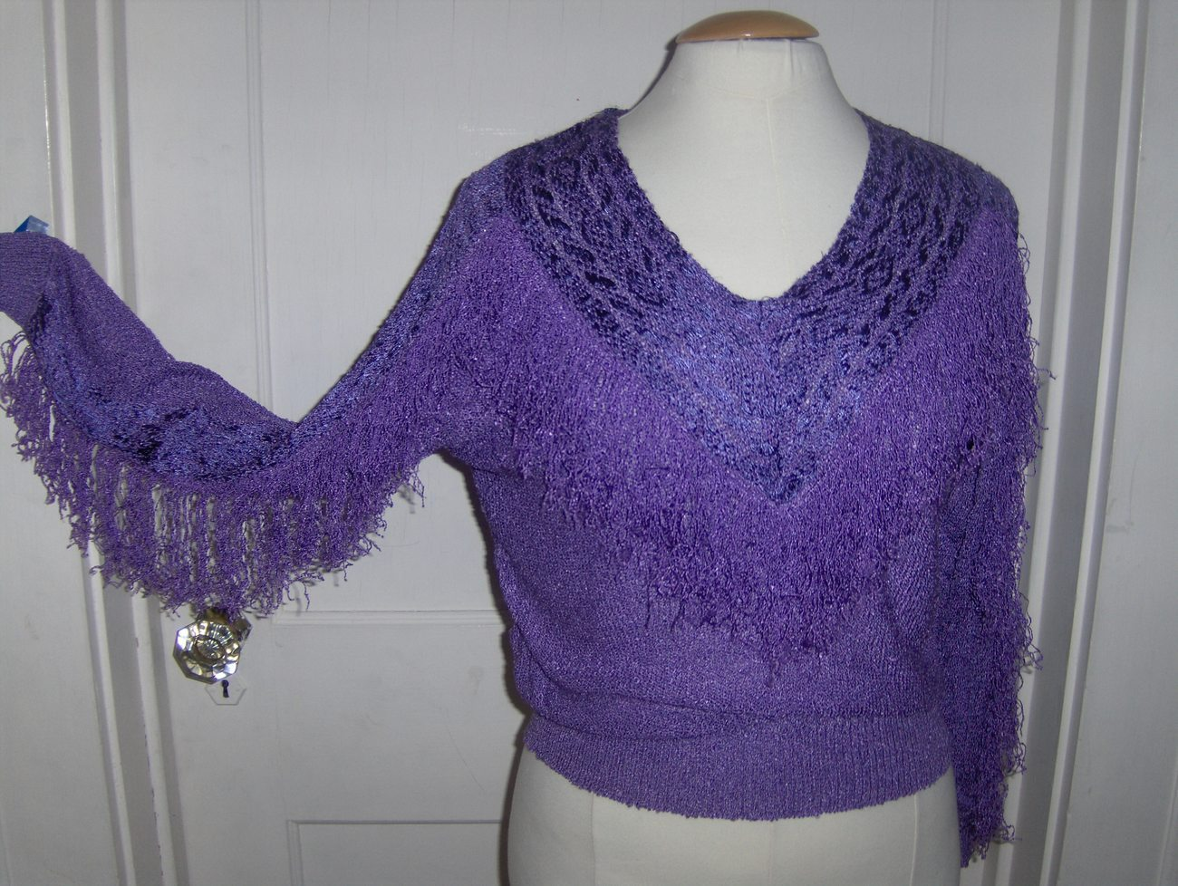 Purple Hand Loomed Top with Fringe