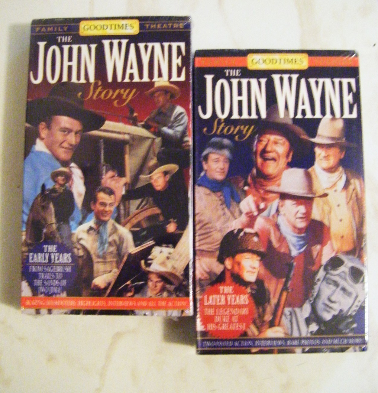 The John Wayne Story: The Early & Later Tears 2-VHS Set, NIB