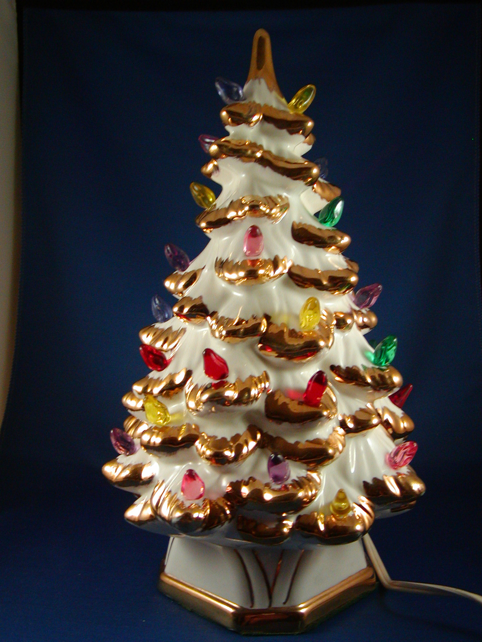 1961 white ceramic christmas tree gold trim multi lights for Gold christmas tree lights