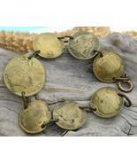 Vintage Coin Bracelet France Bronze Centimes Bo... - $42.95