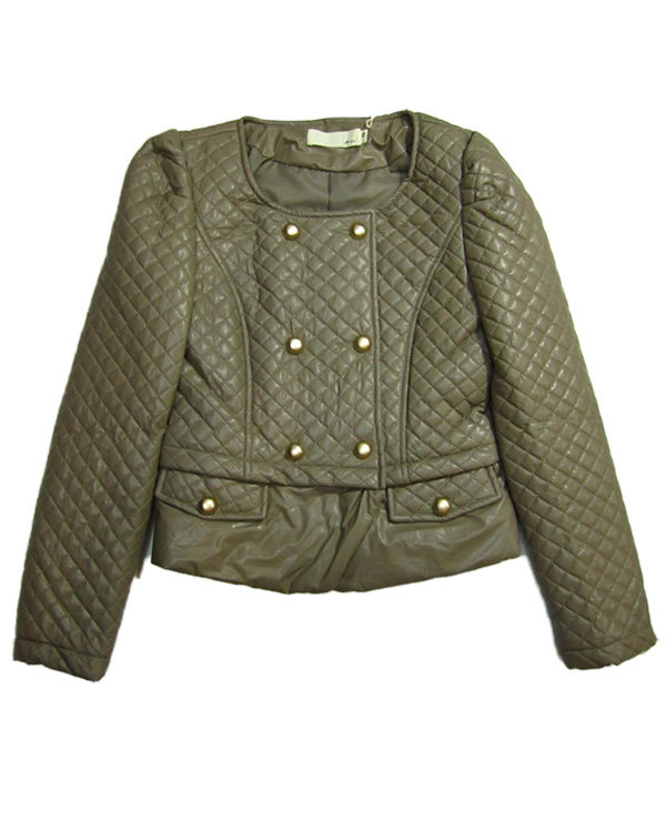 Premium Embellished Military Pu Leather Jacket Khaki One Size