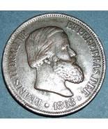 Vintage 1868 Fine 20 Reis Bronze coin from Brazil - $12.80