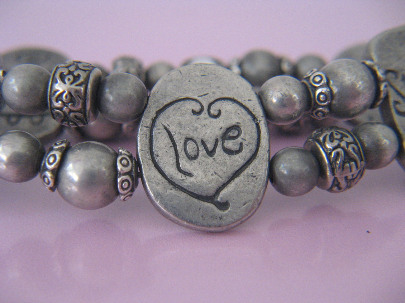 Charm Bracelet Pewter Stretch Love Strength Courage Angel