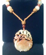 ANTIQUE CHINESE BROWN JADE PEACOCK PENDANT NECK... - $799.99