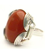 New Wire Wrap Red Jasper Silver Gemstone Ring - £46.70 GBP
