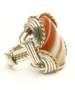 Wire Wrap Red/White Sardonyx Sterling Silver/14... - $150.00