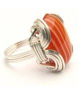 New Wire Wrap  Red/White Sardonyx Silver Gemsto... - $64.00