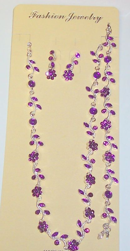 PURPLE SILVER NECKLACE BRACELET EARRINGS JEWELRY SET NEW