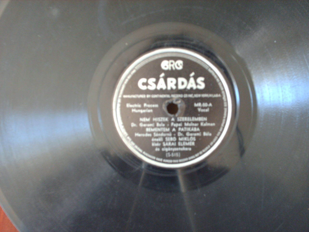 """GYPSY SONG"" on CONTINENTAL RECORD CO  78 rpm by Csardas Made in U.S."