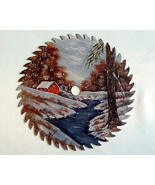 Hand Painted Saw Blade Winter Cabin By The Rive... - $34.00