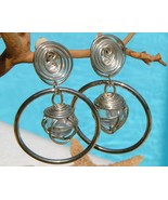 Vintage Earrings Hoop Dangle Spiral Silver Wire... - $24.95
