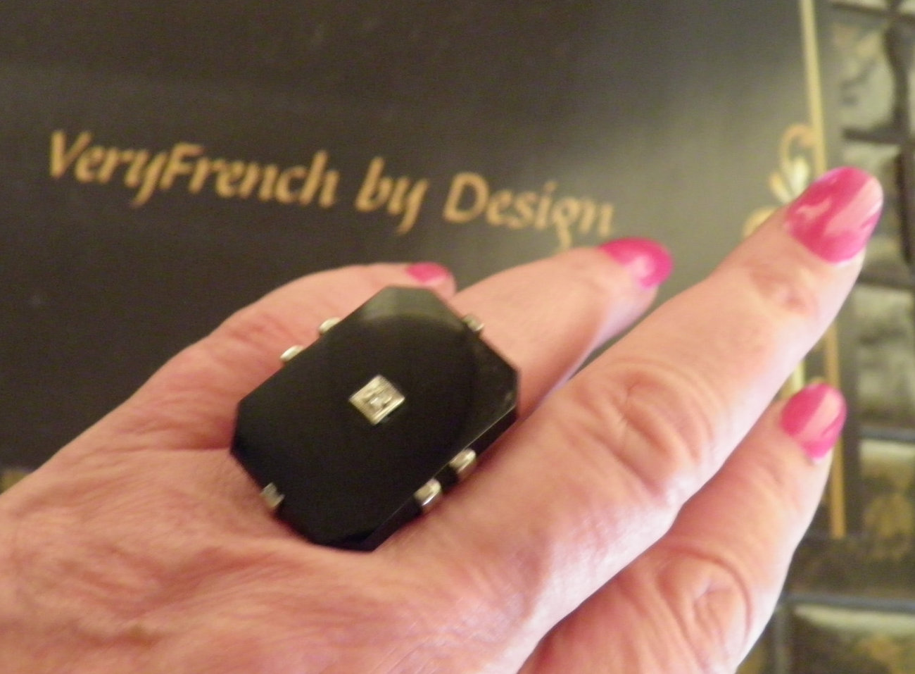 Onyx, Diamond 14K Ring. Art Deco, Retro