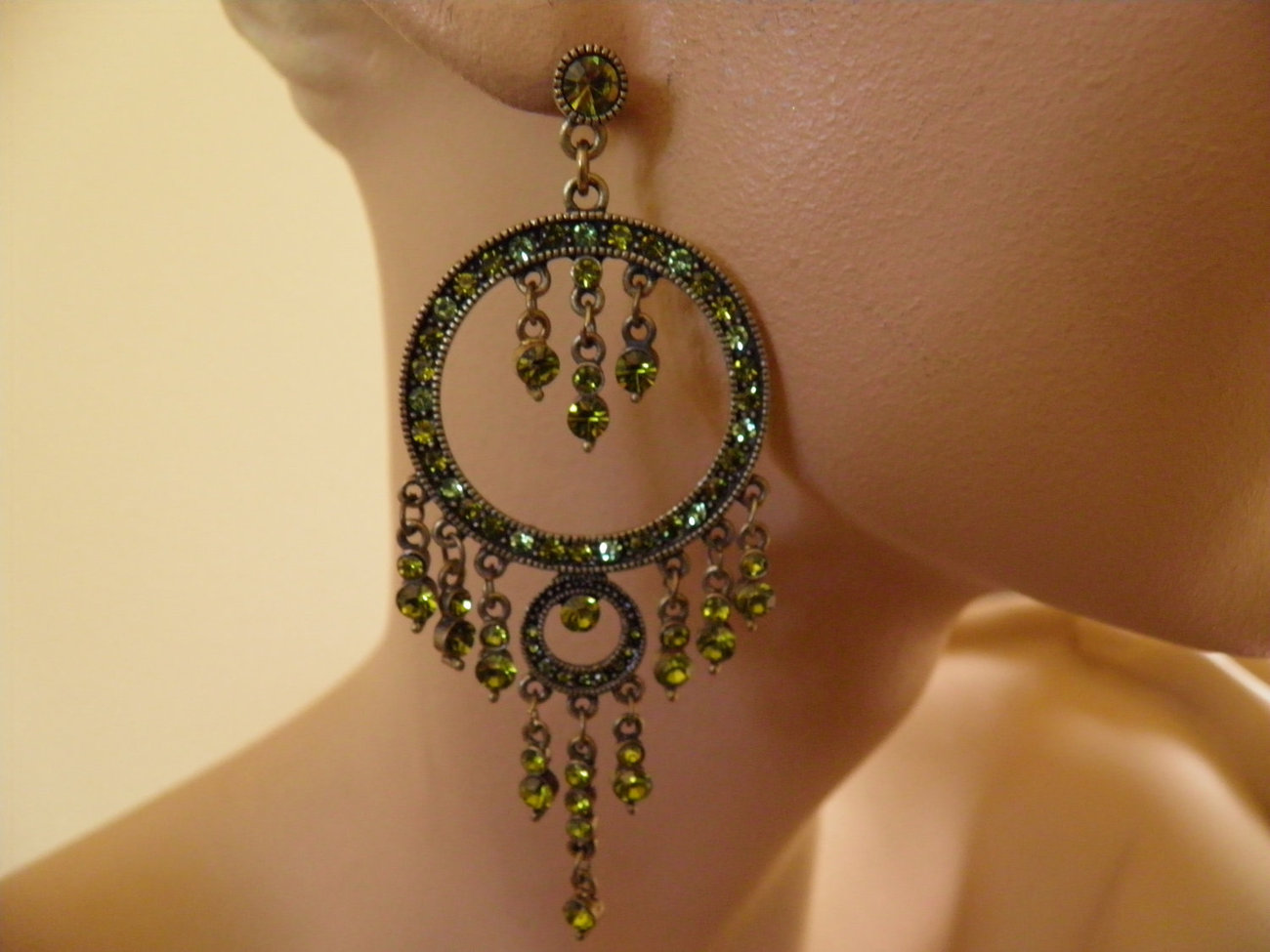 Faux Peridot Dangle Pierced Earrings.