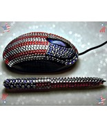 Jeweled Mouse Patriotic Jeweled Red White and B... - $17.99