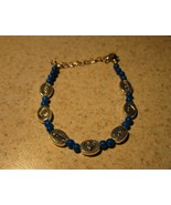BRACELET SILVER LOVE HEARTS & BLUE BEADS New #594 - $9.99