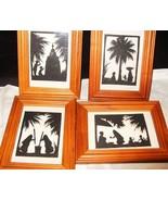 4 VINTAGE FOLK ART Framed Paper Silhouette Indi... - $43.08