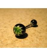 BELLY NAVEL RING BLACK WITH GREEN LEAF DESIGN #... - $4.99