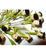 VINTAGE Millinery Flower BLACK Velvet Thistle/P... - $9.70