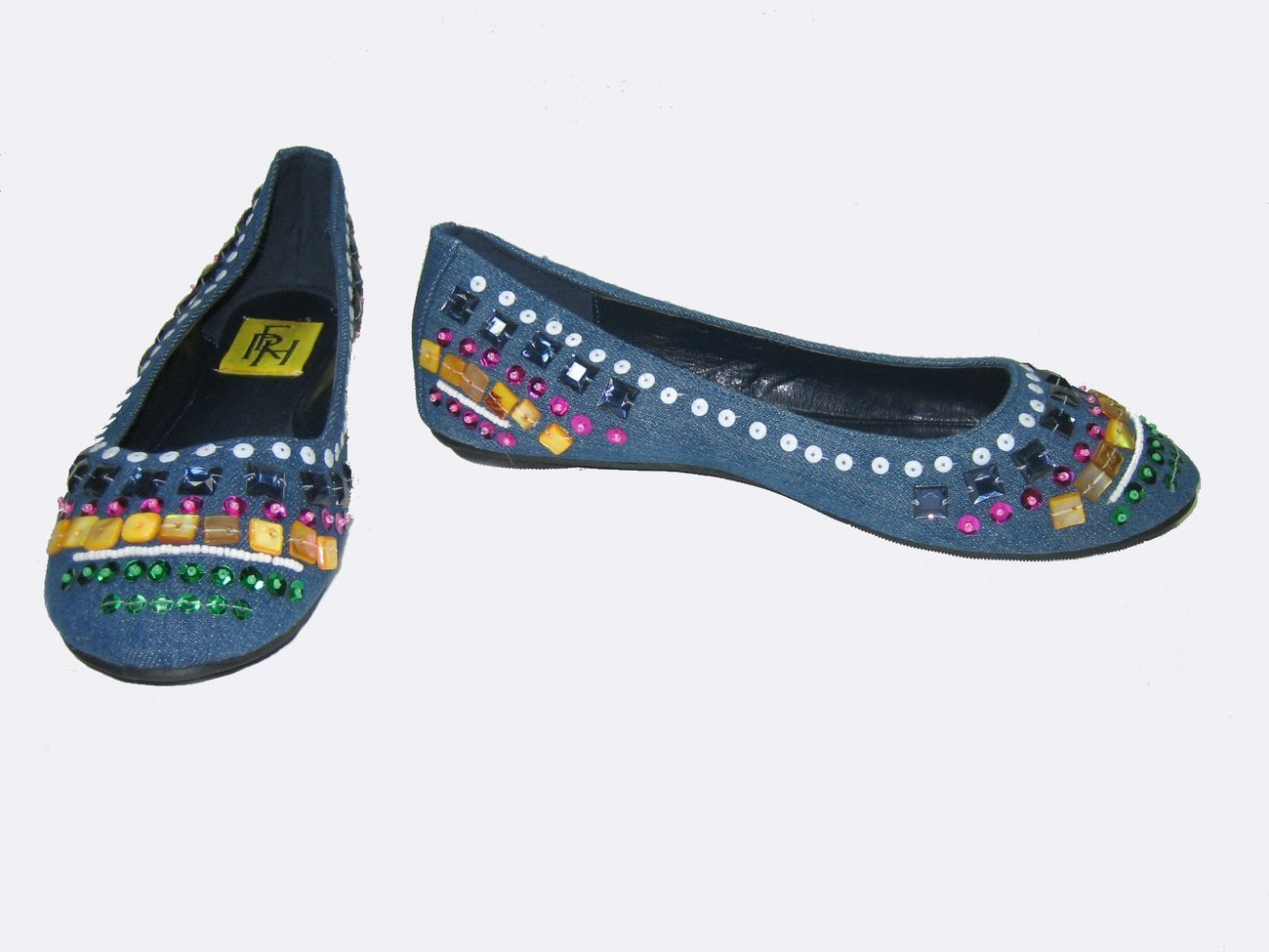 Ballerina comfort flats shoes colorful beads sequins decorated faux blue denim