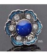 Blue Teal Clear Rhinestone Adjustable Ring - $11.95