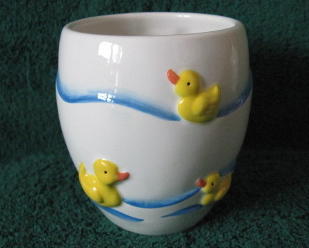 Ceramic Rubber Duck Tumbler Drinking Glass Bath Accessory